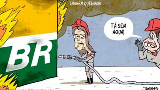 """Humor <p> Nova charge de Jarbas Domingos mostra porque está tão difícil """"apagar o incêndio"""" da Petrobras"""