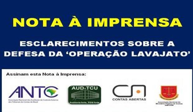 Manifesto <p>ANTC, AMPCON e Contas Abertas representam ao Ministério Público de Contas junto ao TCU em defesa da 'Operação Lavajato'