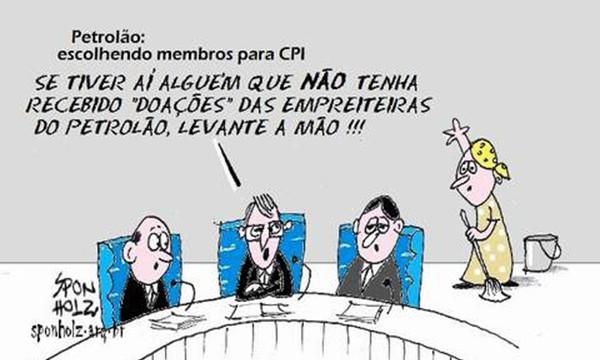 Humor <p>Nova charge de Sponholz mostra bem como é a dificuldade para se escolher os membros de uma CPI do Petrolão