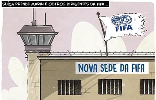 Humor – <p>Nova charge de Cazo revela que dentro em breve a sede da Fifa pode mudar de endereço