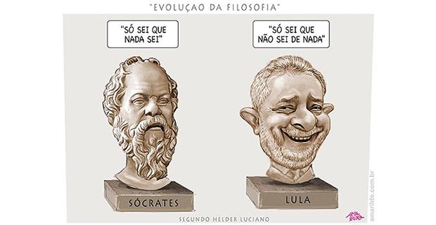 Humor – <p>Nova charge de Amarildo mostra as semelhanças entre Lula e o filósofo Sócrates