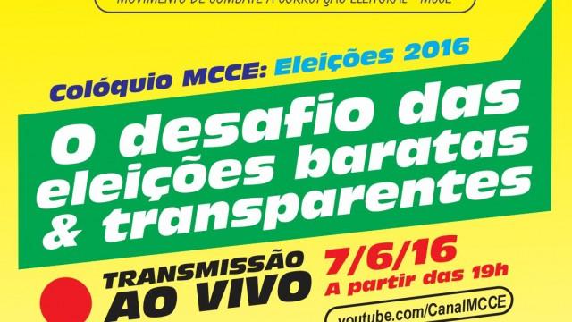 <p>Internet – Assista o Colóquio MCCE sobre eleições limpas e baratas em 2016<p>