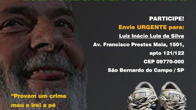 <p>Solidariedade humanitária – Doe um par de tênis velho pro Lula chegar a Curitiba<p>